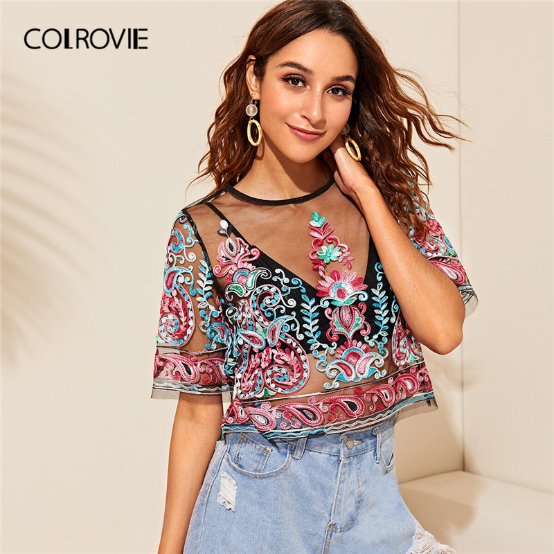 COLROVIE Flower Embroidery Sheer Mesh Boho Crop Top Women   Blouse     Shirt   Without Bra 2019 Summer Vintage Transparent Lady   Blouses