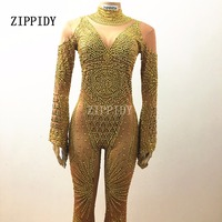 Gold Full Rhinestones nice Jumpsuit Sexy Big Sleeves Beads Bodysuit Stage Wear Dance Costume Prom Birthday Celebrate Outfit