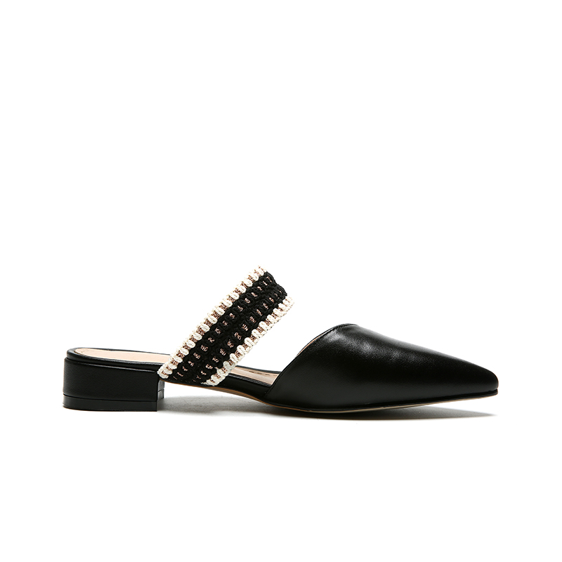 Beige noir Pointu Appartements kaki D'été Chaussures Cuir De Karinluna Dame Style Bout Femmes Classiques Élégant Ins D'âge Mûr Véritable apricot DHIW2E9Y