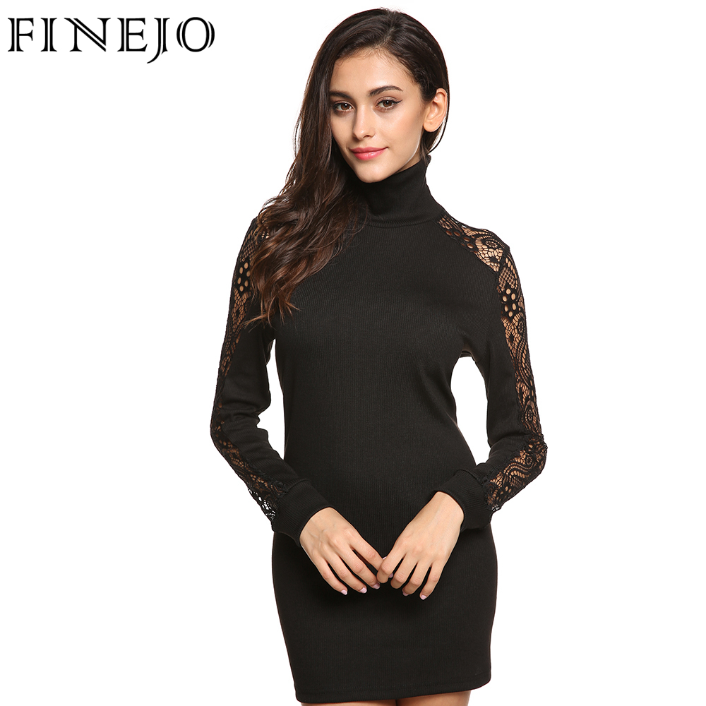 Finejo Women Sexy Black Dress Bodycon Autumn High Neck -6548