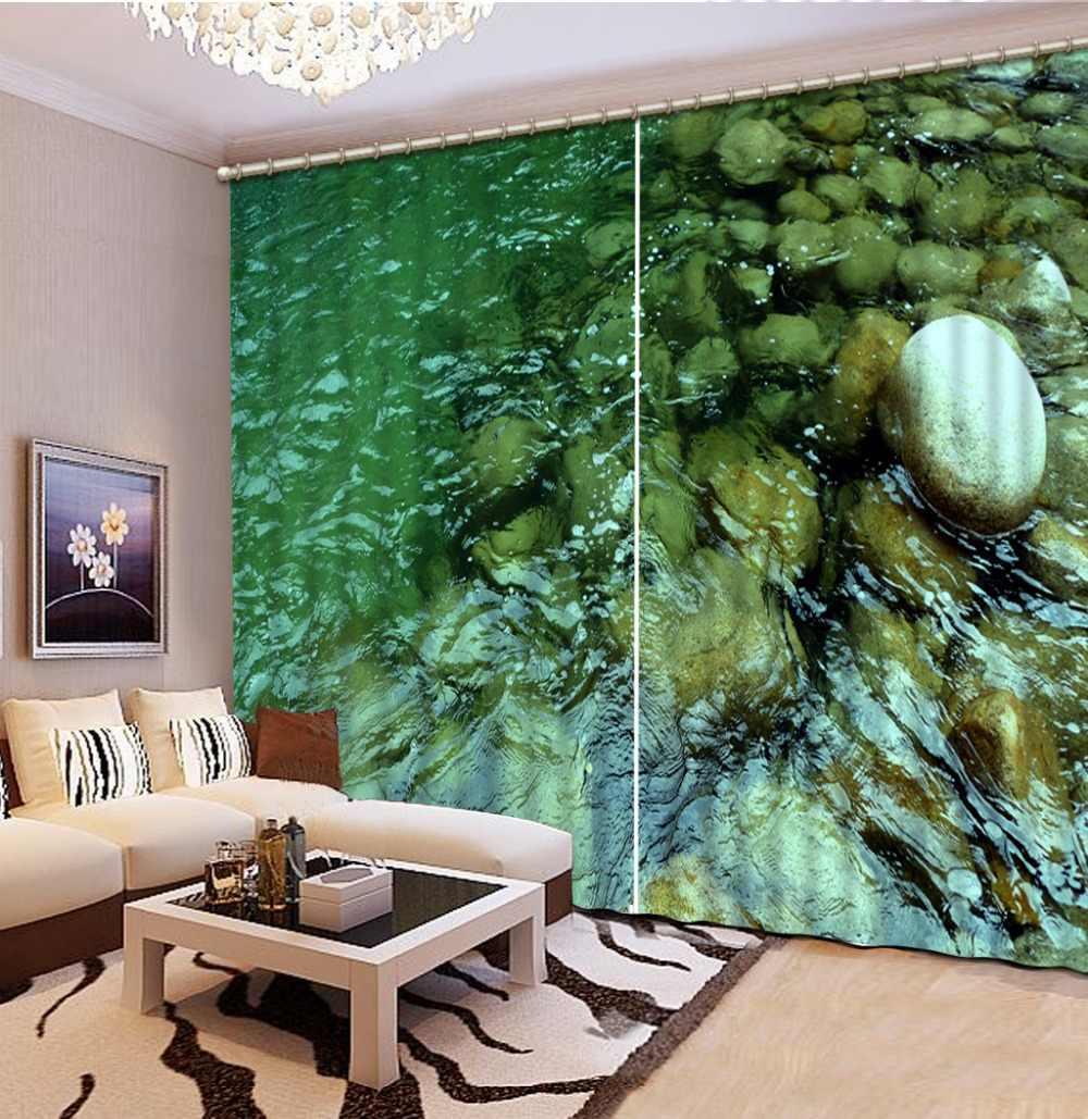 חלון וילון 3D ברור מים אבן סלון Blackout וילונות מודרני תמונה וילונות באיכות גבוהה עבה וילונות וילונות