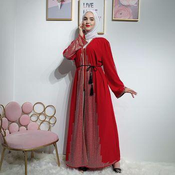 свободные черные бриллианты | Элегантное открытое красное/Черное женское мусульманское платье с бриллиантами, большие размеры, свободное платье для взрослых, мусульман...