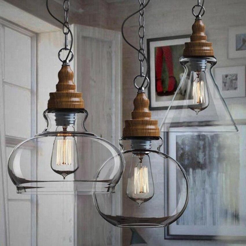 Holigoo 3pcs/Set Vintage <font><b>Pendant</b></font> Lights Glass Abajur Suspension Luminaire Loft Retro E27 Lamp Lamparas Colgantes Industrial Home