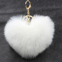 2017 New Keychain Pompon Fluffy Women Fur Ball Key Chain Rings Bag Pom Pom Key Ring