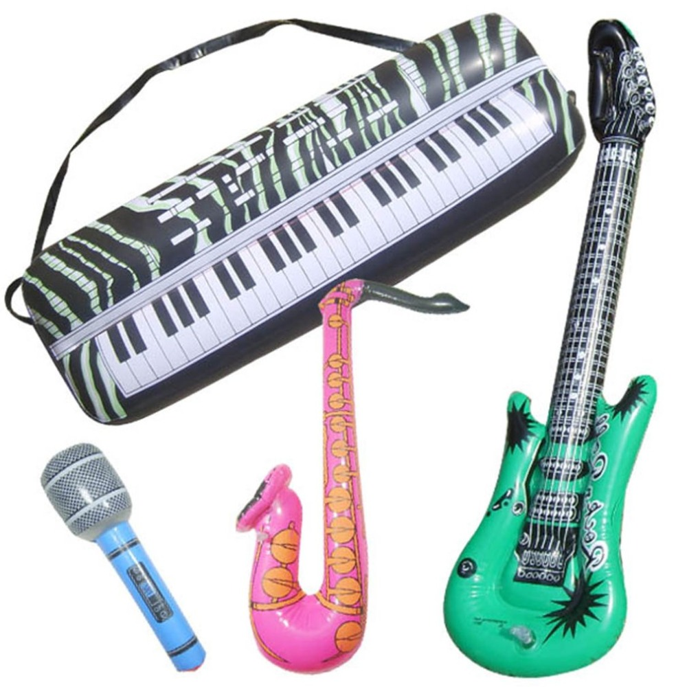 Kids Inflatable Simulation Musical Instrument Guitar Sax Electronic Organ Microphone Shape Toys For Children Musical Game Toy