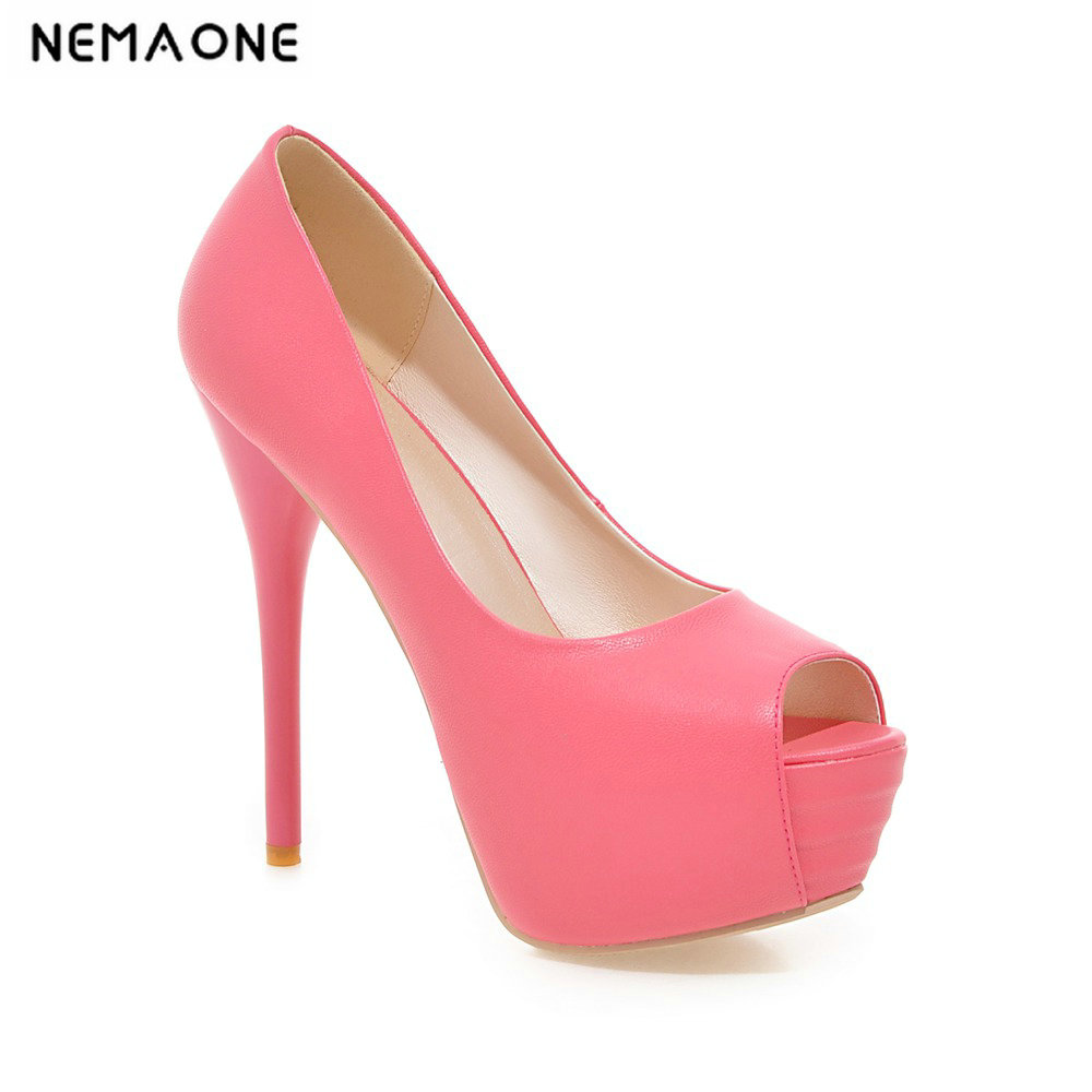 2019 New Brand Platform Shoes Woman Peep Toe High Heels Pumps Sexy Nude Women Shoes -6502