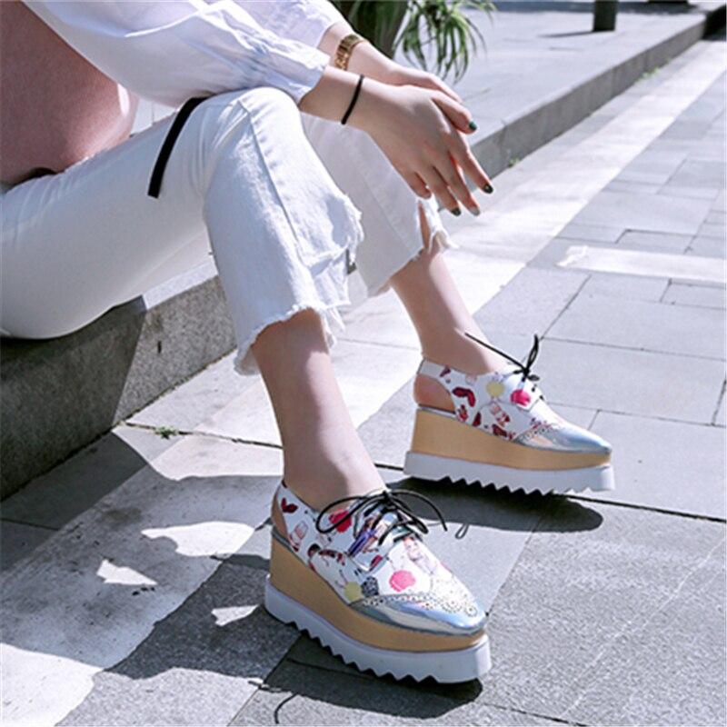 Véritable En Taille forme Creux La Cuir Dentelle blanc Plus D'été Imprimer Bout noir Chaussures Rond Black Msstor 40 Plate Printemps Femmes Appartements up 33 q6xzw7
