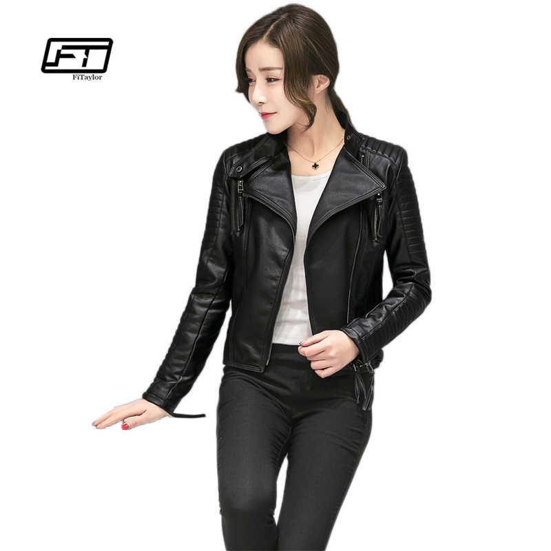 194cf49294d6b ... Fitaylor Women Spring Autumn PU Leather Jacket Casual Slim Soft Moto  Jacket Biker Faux Leather Jacket ...