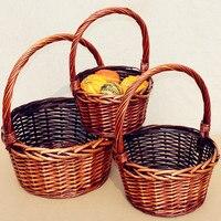 2017 manual cane wicker round basket gift baskets fruit basket