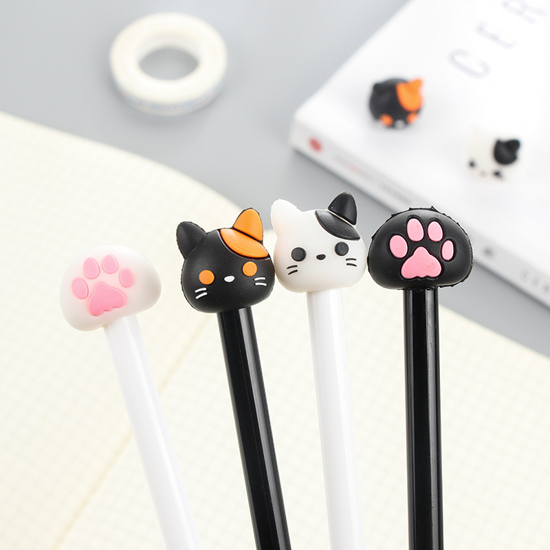 8 pcs/lot Kawaii cat footprint gel pens for writing Cute black ink signature pen office school supplies canetas lapices