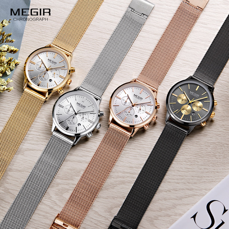 db19d345510 Megir Women s Chronograph Luminous Hands Date Indicator Stainless Steel  Mesh Strap Quartz Wrist Watches Lady Rose Gold MS2011-in Women s Watches  from ...