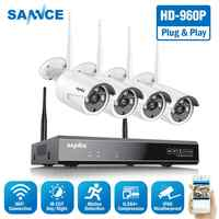 SANNCE 8CH HD 960P Wireless Home Security System 1080P HDMI NVR With 4PCS 960P Outdoor Weatherproof Wifi IP Cameras CCTV Set