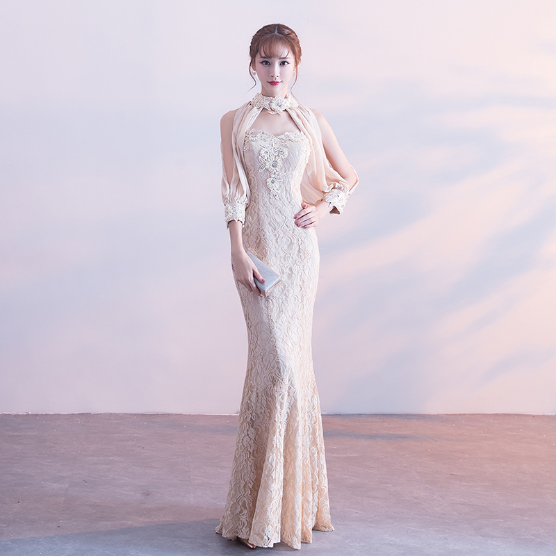 Champagne Mermaid Long Evening Gowns 2018 New Halter Split Lantern Sleeve Gorgeous Party Dress Beading Lace Banquet Dresses G219 gown
