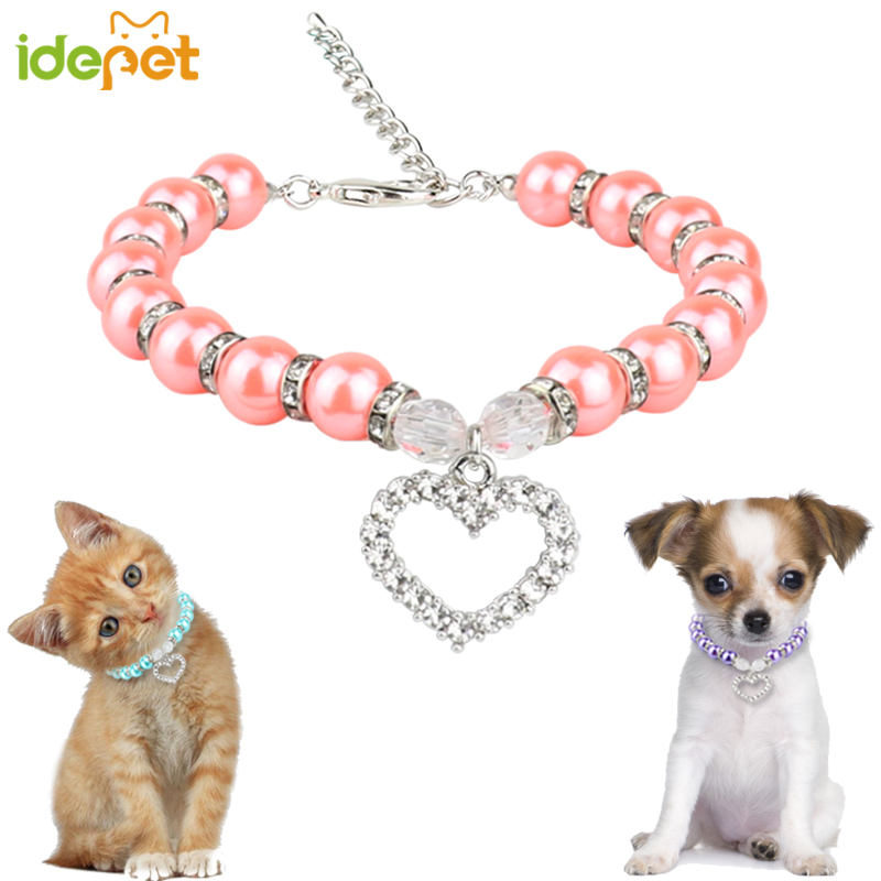 Fashion Pet Cat Accessories Pearl Necklace Cat Supplies Love Pendant Pet Products Puppy Dog Cats Collar & Ldads Jewelry 35 P1