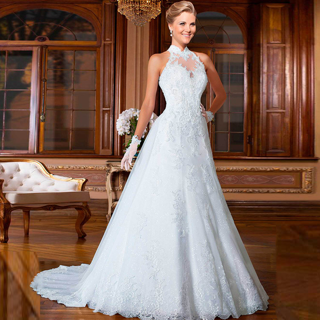 Aliexpress.com : Buy Designer Sexy White Lace Ball Gown Wedding ...