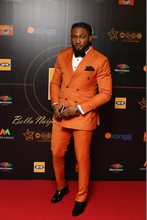 Latest Coat Pant Designs Orange Double Breasted Men Suit Blazer Slim Fit Skinny Groom Suits Custom Prom Tuxedo 2 Piece Masculino