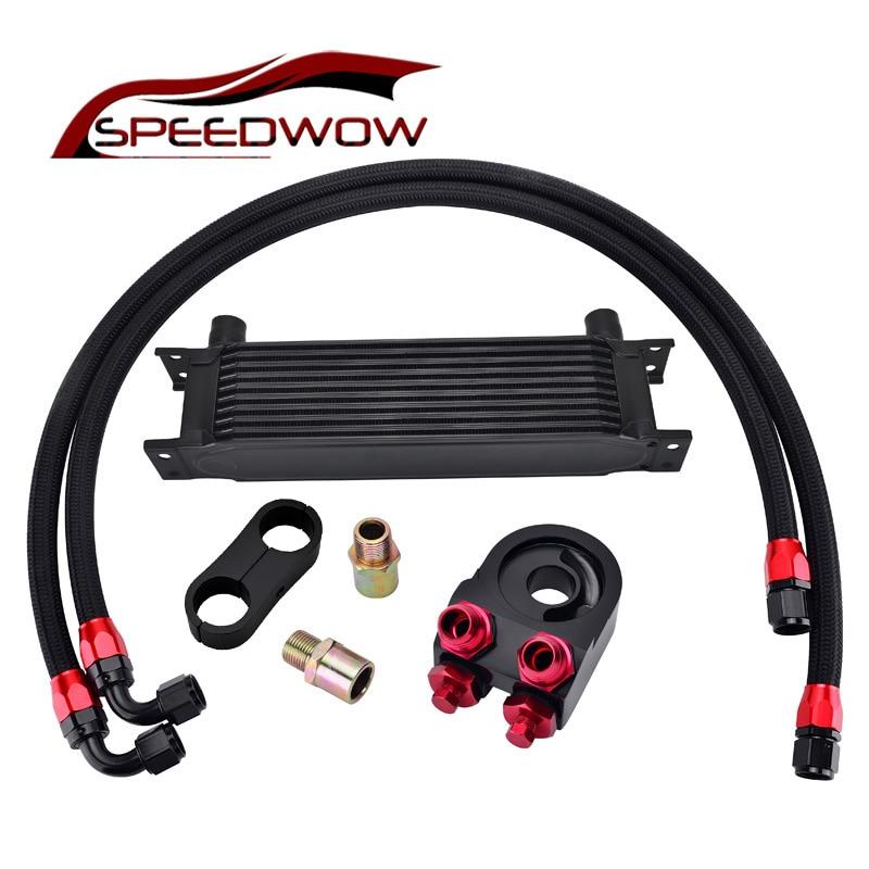 SPEEDWOW 10ROW 10AN Engine Transmission Oil Cooler +Aluminum Oil Filter Cooler Sandwich Adapter+AN10 Swivel Hose Fitting Kit цена