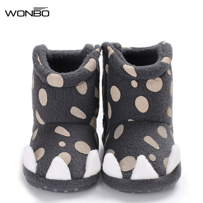 Lovely Monster paw style winter warm baby boys girls Shoes cute boots soft sole first walker indoor baby boots 5 colors