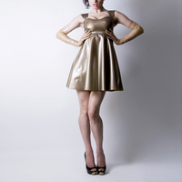 Custom made Latex One piece Dress Rubber Latex pleated skirt