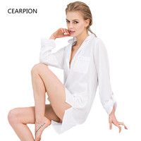 CEARPION Spring Summer Women Sleepwear 100% Cotton Nightgown Long Sleeve Nightwear Solid Color Sexy Intimate Lingerie S M L XL