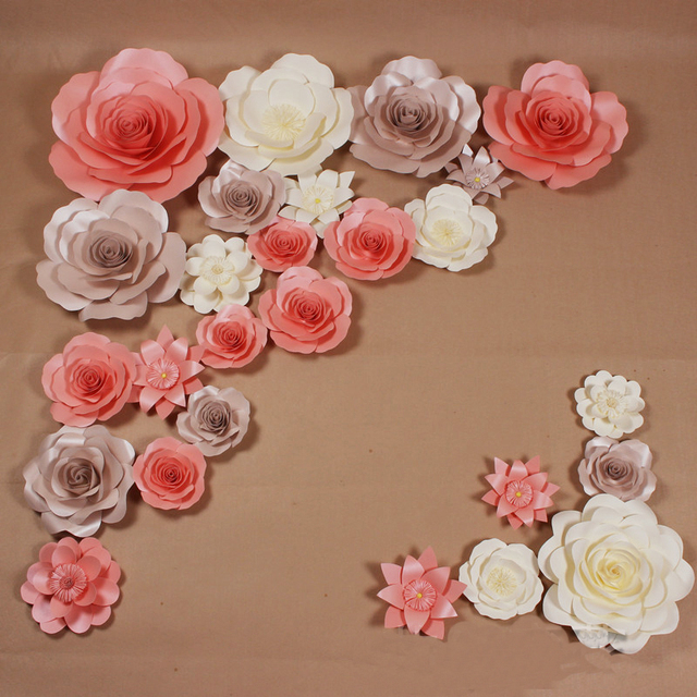 26pcs set giant simulation cardboard paper rose flowers showcase for 26pcs set giant simulation cardboard paper rose flowers showcase for wedding backdrops props flores artificiais para mightylinksfo Image collections