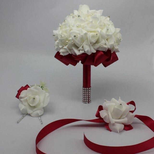 3 pcs Wedding Bouquet Boutonniere Wrist Corsage Set Bridal ...