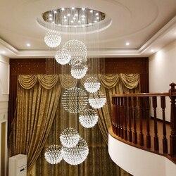 Kryształowy żyrandol oprawa oświetleniowa Led żyrandol duży Lamparas Moderna Grande długi Hanglamp Groot Grote sufit w toku