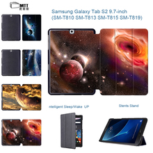 """Cosmic Space Painted Tablets Case For Samsung Galaxy Tab S2 9.7"""" T815 SM-T810 Case Stand Flip PU Leather Cover for Girls Boy"""