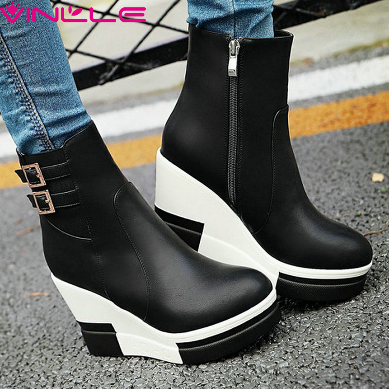 ФОТО VINLLE 2016 Women Platform Fashion Boots Causal Western Style Buckle Shoes Zipper Ladies Wedges High Heel Ankle Boots Size 34-40