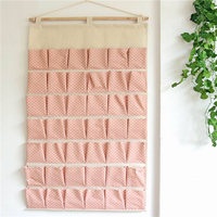 42 Pockets Increase Overlength Cotton Linen Key Sundries Storage Bags Bedroom Kitchen Organizer Wall Hanging Bag