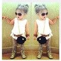 1-10Y 2016 Chegada Terno Da Menina Da Criança Sem Mangas Moda Camisa Branca + Calça Com Estampa de leopardo Da Menina Das Crianças Set