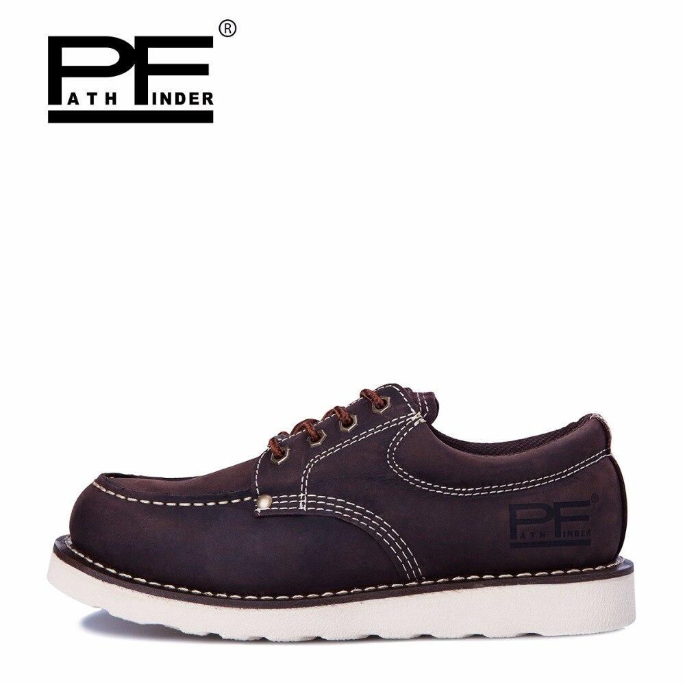 Pathfind Mens ankle boots de Couro genuíno 2019 botas de neve de Ferramentas de segurança Botas militares Homens sapatos Ao Ar Livre Sapatos da moda 2018 Retro marrom - 5
