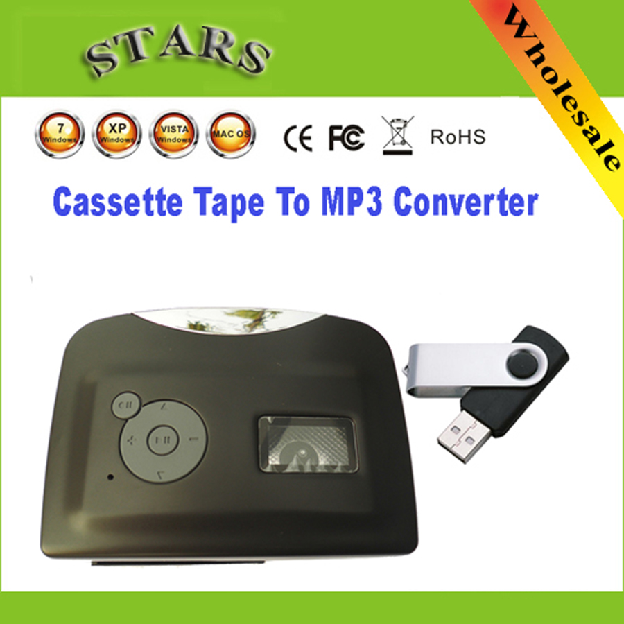 Mini Protable USB cassette Magnetic tape to mp3 USB Flash Driver converter player for capture recorder,Wholesale Free Shipping