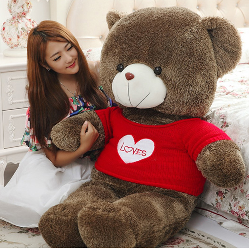 80cm Large Teddy Bear Plush Doll Stuffed Soft Toy Cute Huge Brown Bear Wear A Sweater Kids Toys Birthday Gift for Childrens