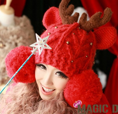Beret Women Christmas Red Woolly Hat Cute Ears and Elk Antlers Caps Girl Thick Woolly Beanies hats ladies fall winter CP042