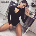 Rompers Womens Jumpsuit Bodysuit Mulheres Outono Manga Comprida Stretchy Tops Sólidos Sexy Magro Preto Gargantilha Bodysuits Bodycon