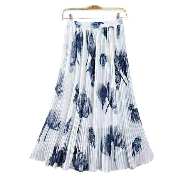 62e623503c2 Fashion Floral Print Maxi Skirt Women High Waist Female Pleated Skirts  Casual Ladies Saias Plus Size