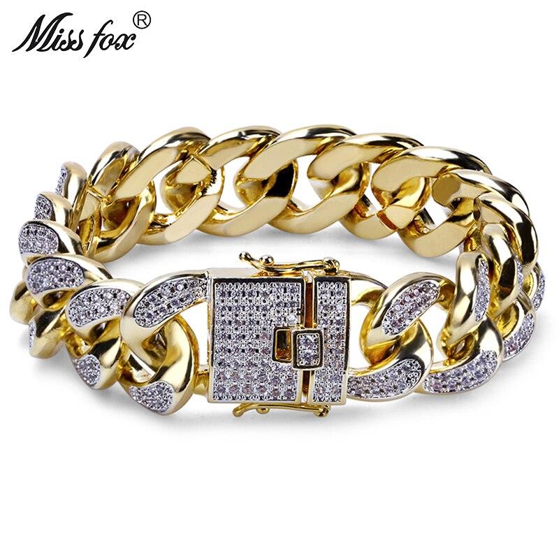 MISSFOX Hip Hop 18mm Three Dimensional Cubic Zirconia 18k Gold Bracelet God Line Cuban Meus Pedidos
