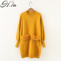 H.SA 2019 Women New Long Sweaters Oneck Pull Jumpers Real Rabbit Fur cashmere sweater women Pocket Fur Jumpers christmas sweater