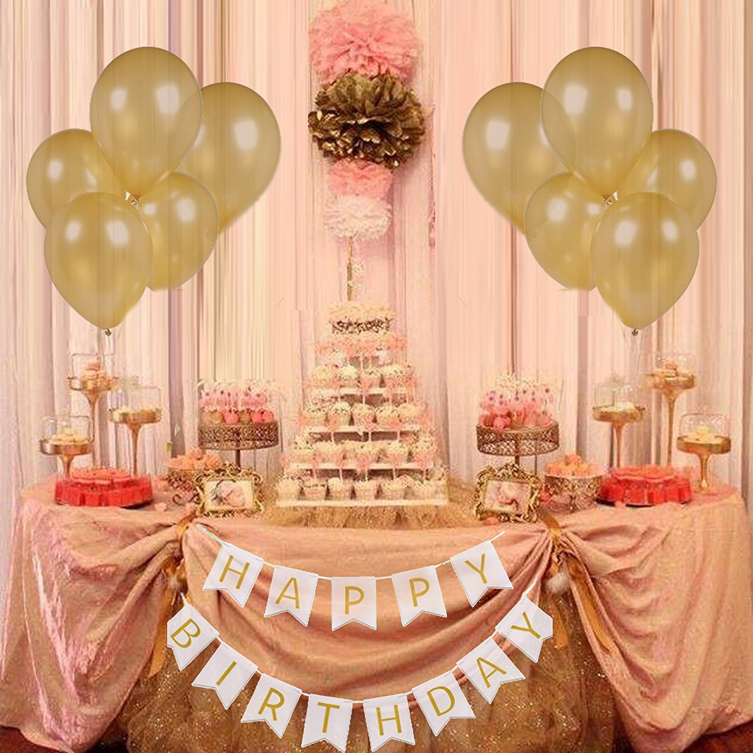 Large White Happy Birthday Banner Gold Balloons Flag Garland Party Products Decoration Kit For In DIY Decorations From Home