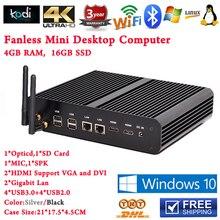 Intel Core i7 5500u Core i5 5257u Iris 6100 GPU Безвентиляторный Mini PC Windows 8.1 4 ГБ RAM 16 ГБ SSD 2 HDMI 4 К HTPC Mini Desktop PC
