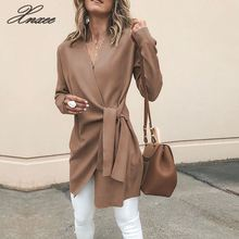 2019 autumn winter woolen blend coats women outwear sexy v neck lace-up solid casual overcoats female slim jacket