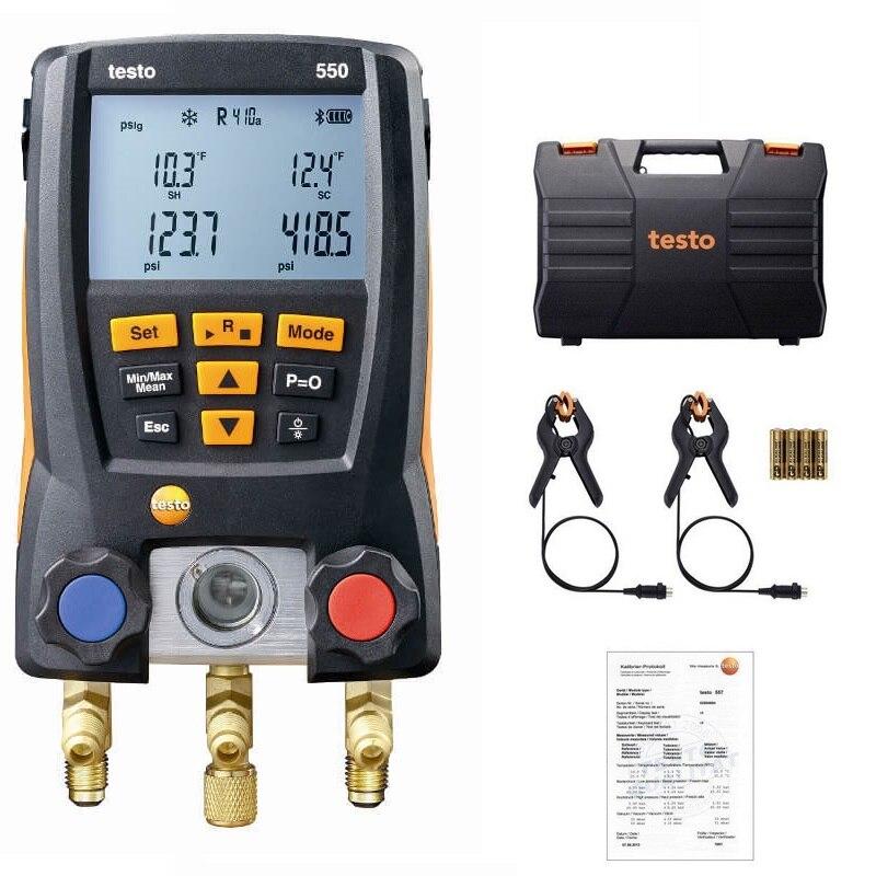 Testo 550 Réfrigération Manomètre Numérique Collecteur Kit 0563 1550 Avec 2 pièces Pince Sondes Électronique Mètres Réfrigérant Ensemble