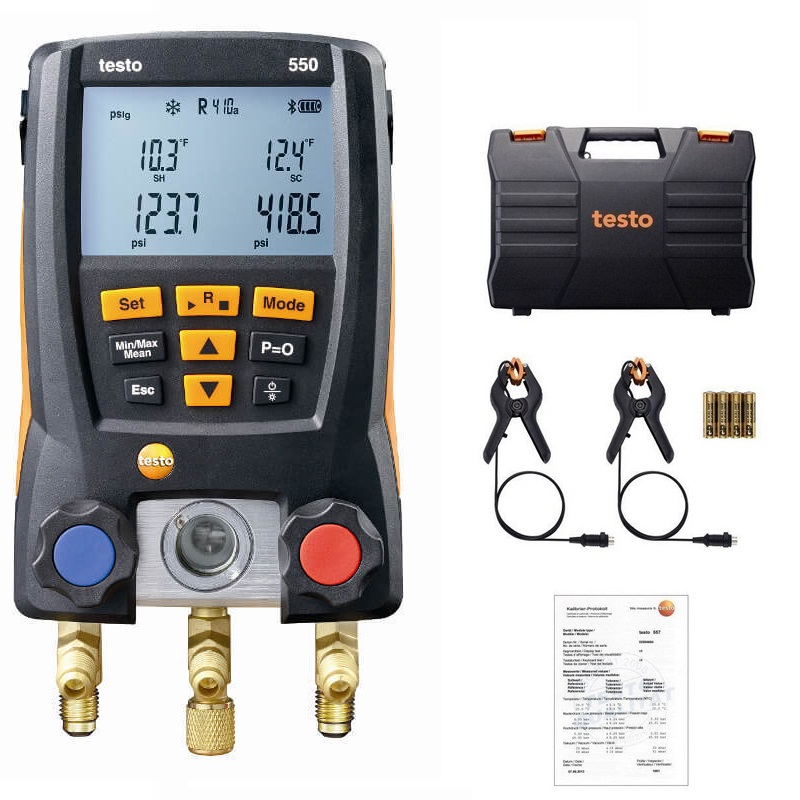 Testo 550 Refrigeration Pressure Gauge Digital Manifold Kit 0563 1550 With 2pcs Clamp Probes Electronic Refrigerant Meter SetTesto 550 Refrigeration Pressure Gauge Digital Manifold Kit 0563 1550 With 2pcs Clamp Probes Electronic Refrigerant Meter Set