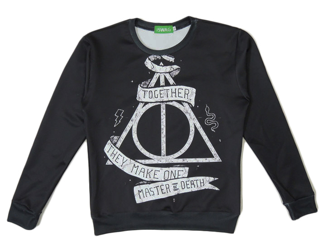 Harajuku autumn women/men 3d sweatshirts print Harry &Deathly Hallows hogwarts black pullover hoodies Free shipping