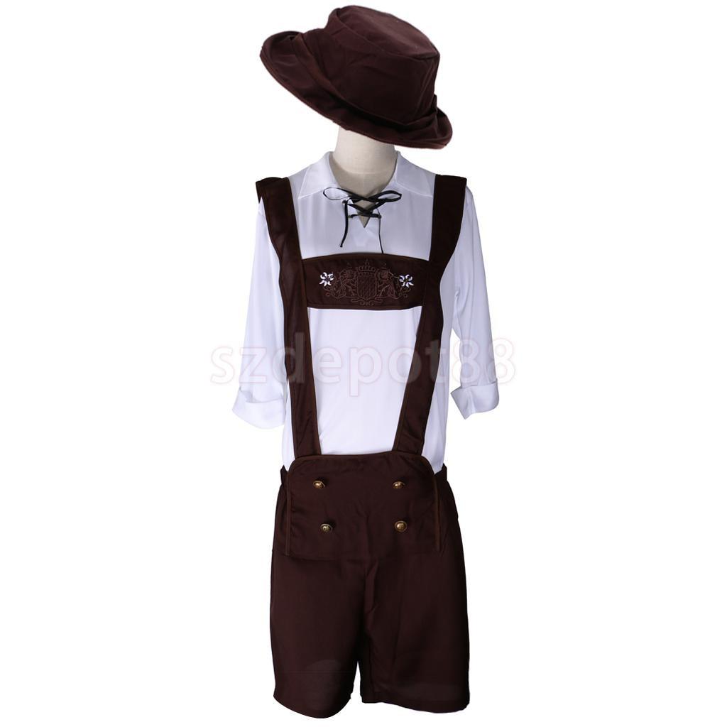 German Bavarian Oktoberfest Suspender Lederhosen Brace Shorts Beer Festival Waiter Mens Constume With Hat