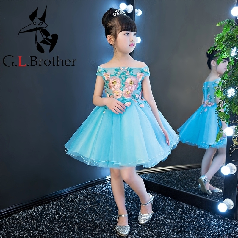 Blue Embroidery Flower Girl Dress Shoulderless Ball Gown Princess Dress Knee Length Kids Pageant Dress Birthday Communion B31 buttoned knee length pin up dress