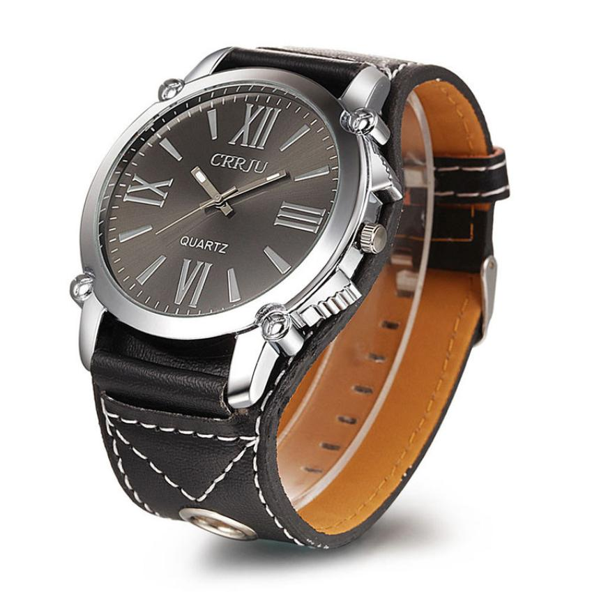 Men Watch Drop Shipping Gift Relogio Masculino 1PC  Luxury Unisex Analog Roman Big Dial Quartz Sport Leather Wrist June29