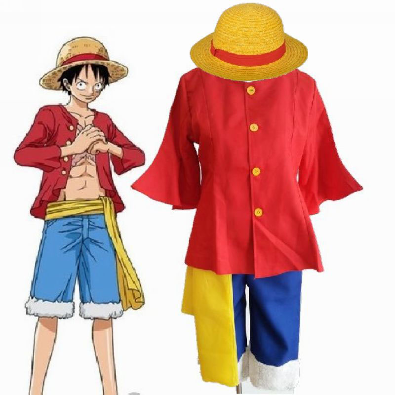Luffy Full Set Halloween Cosplay T Shirt+pants+hat+yellow Belt Casual Clothes Clearance Price Women's Costumes Costumes & Accessories One Piece Cosplay Costumes One Piece Monkey D