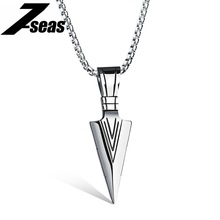 Punk Style Spearhead Design Pendants Necklace For Man Fashion Stainless Steel Box Chain Jewelry Men Necklace Accessories,JM1070X